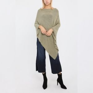 New Italy Cashmere Blend Side Button Poncho OS